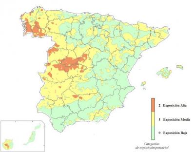 Mapa zonas exposición radón España
